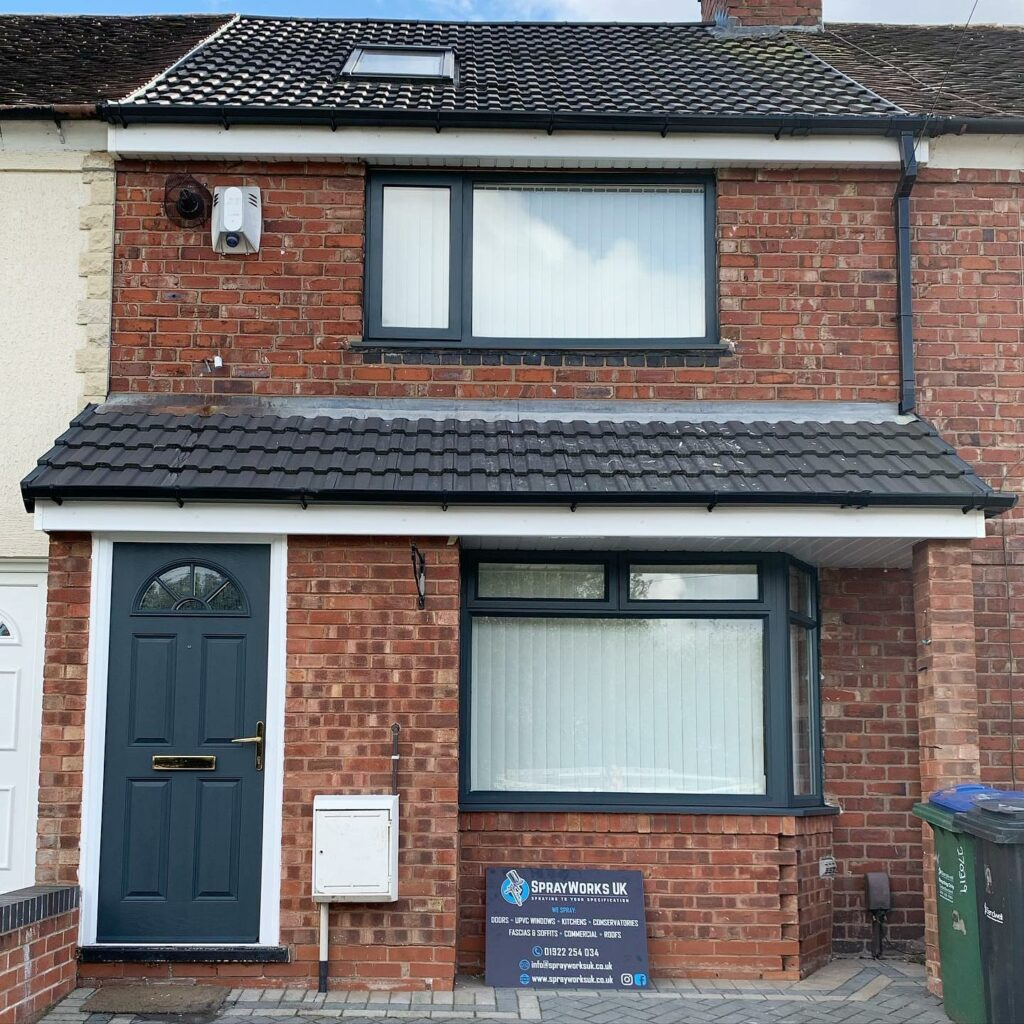A tired looking property now refreshed into Ral 7016 Anthracite Grey....