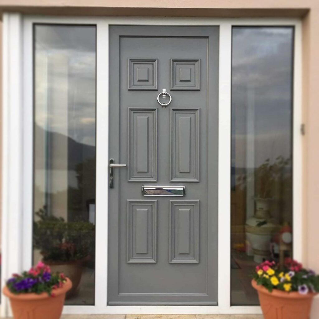 Here's a front door we sprayed from white to RAL 7012 Basalt Grey....
