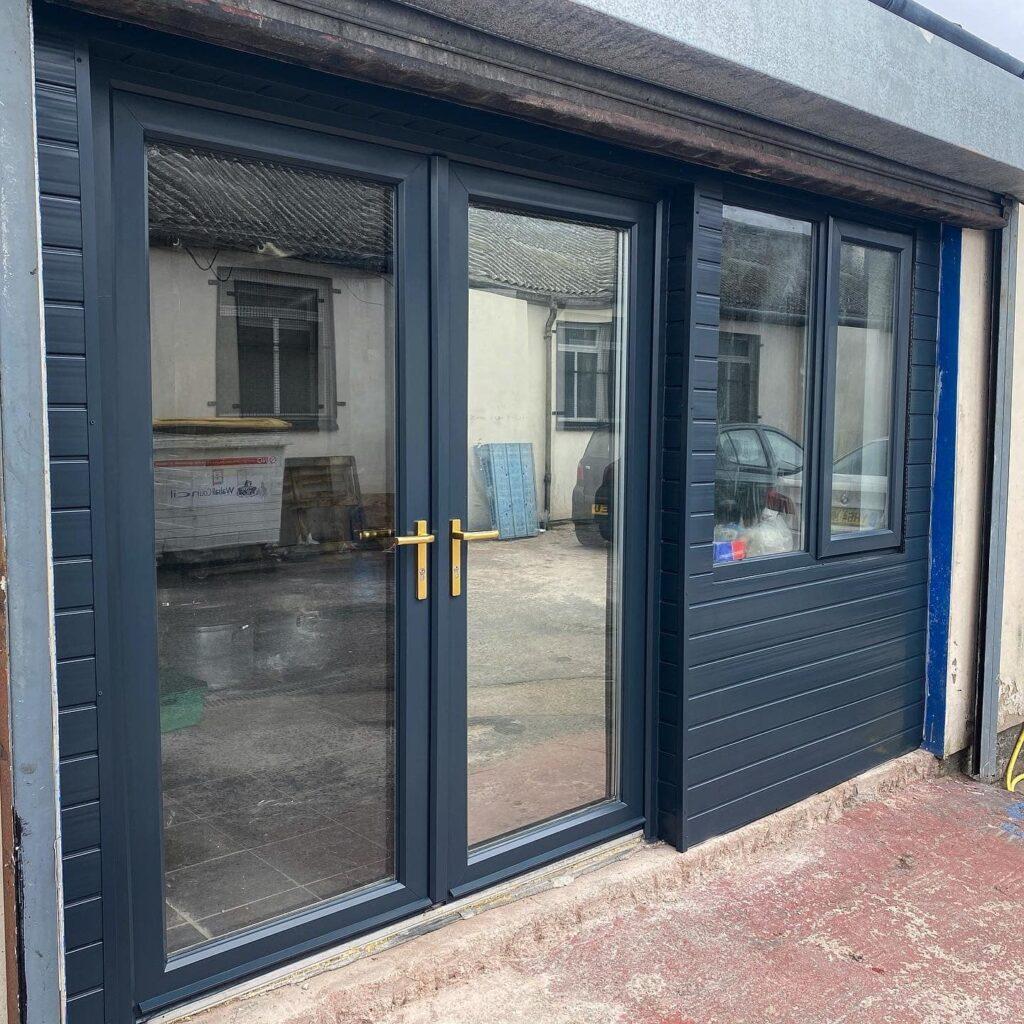 Industrial Unit - Cladding, Upvc Doors & Upvc Window sprayed from White  Anthrac...